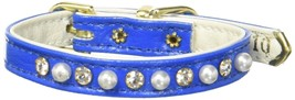 Mirage Pet Products 3/8-Inch Pearl and Clear Crystals Pet Collar, Size 10, Blue - $24.54
