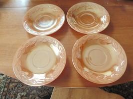 Set of 4 Fire King Peach Lustre Laurel Leaf Saucers Lusterware - $17.59
