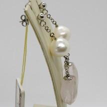 Pendientes de Plata 925 Rodio con Cuarzo Rosa y Perlas Blancas image 2