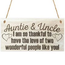 Wood Sign Plaque - Auntie & Uncle I am so thankful to have two people li... - $16.99