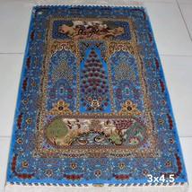 Blue Floral Wall Hanging Tapestry Art Decor Bedroom Handmade Silk Rugs Carpets - $675.00