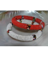 Estate Lot of 2 Red & White Beaded wColorful Striped Segments Bangle Bra... - $12.19