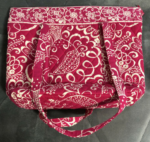 Primary image for Vera Bradley Zipper Tote in Pink & White Twirly Bird - Purse, Shoulder Bag