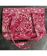 Vera Bradley Zipper Tote in Pink & White Twirly Bird - Purse, Shoulder Bag - $24.74