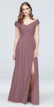 Davids Bridal Off the Shoulder Bridesmaid Dress in Quartz F19951 Size 12 - $90.63