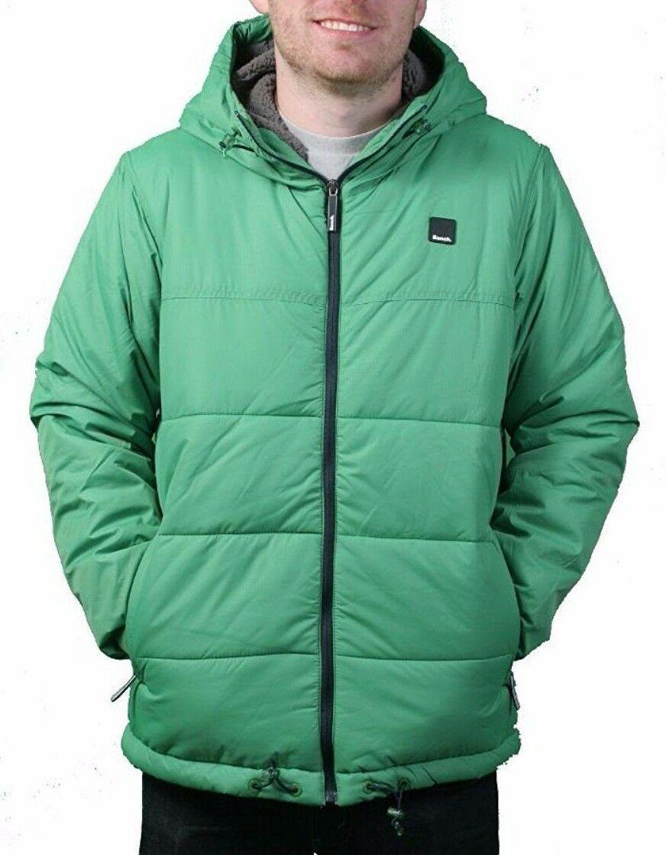 Bench UK Mens Hollis Zip Up Green Hooded Puffy Winter Jacket Coat NWT