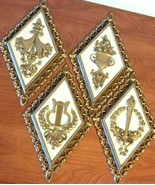 Vintage HOMCO French Court Wall Plaques Decor 1971 Diamond Shape Set of ... - $24.75