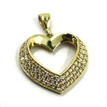 SOLID 18K YELLOW GOLD PENDANT HEART WITH CUBIC ZIRCONIA, 16mm, 0.63 inches image 2