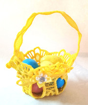 Embroidered Lace Tiny Easter Basket Yellow For Favors - $12.00