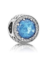 Authentic Pandora Sterling Silver Radiant Hearts Sky Blue Crystal 791725... - $68.26