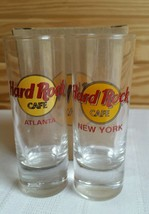 Hard Rock Cafe SHOT GLASS Atlanta/New York Red Letters Set of 2 NEW - $10.10