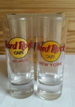 Hard Rock Cafe SHOT GLASS Atlanta/New York Red Letters Set of 2 NEW - $10.10