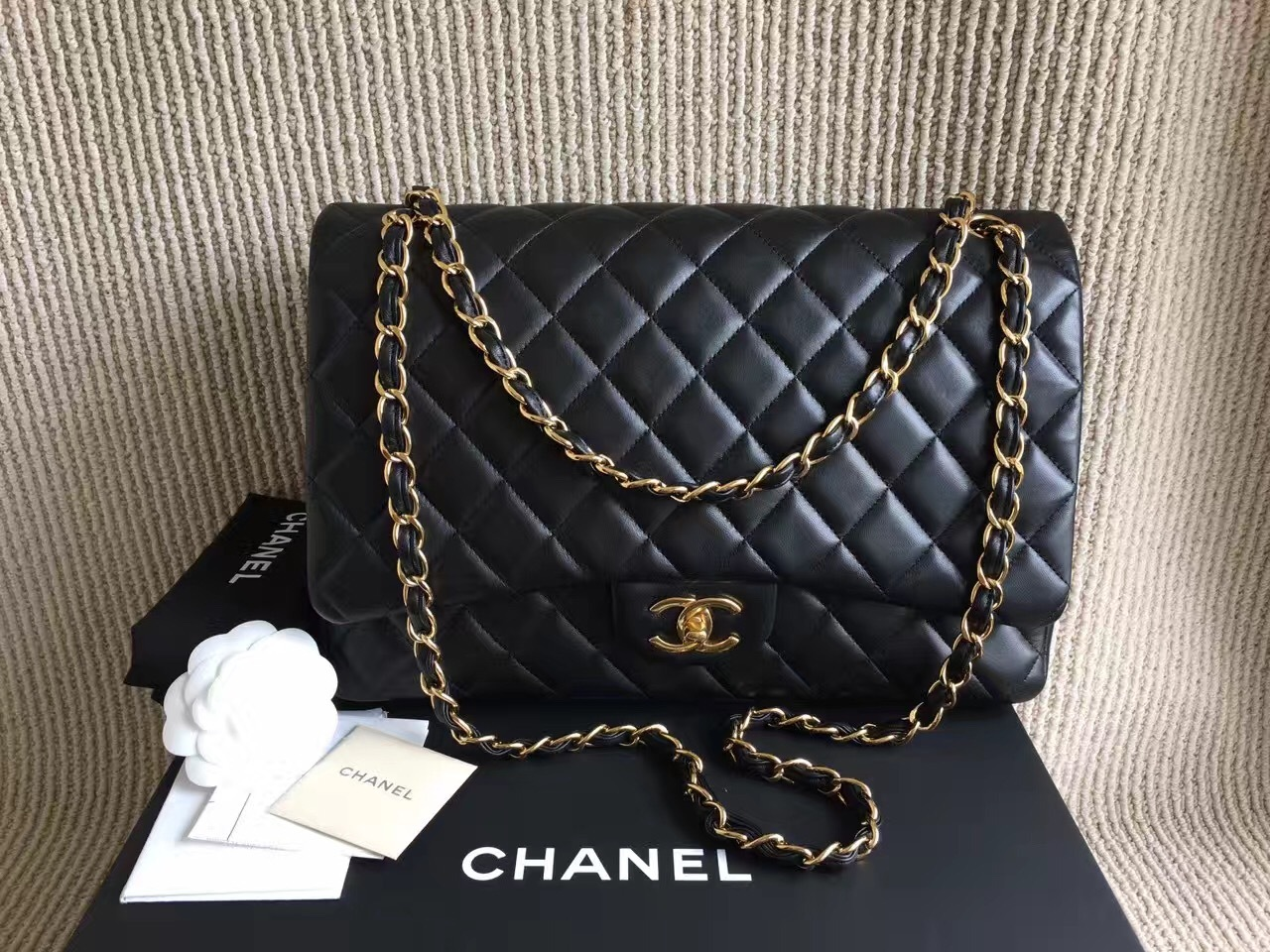 100% AUTH CHANEL BLACK QUILTED LAMBSKIN MAXI DOUBLE FLAP BAG GHW WITH RECEIPT