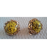 Vintage Signed Jewels by Julio Yellow Speckled Glass Gold Tone Clip On E... - $50.00