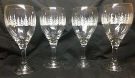 Libbey Winter Pine Wine Arby's Holiday Wine Glasses Set Of 4 Gold Rimmed - $22.15