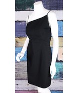 David Meister 10 Black Textured Cotton Asymmetrical Sheath Dress Cocktai... - $59.39