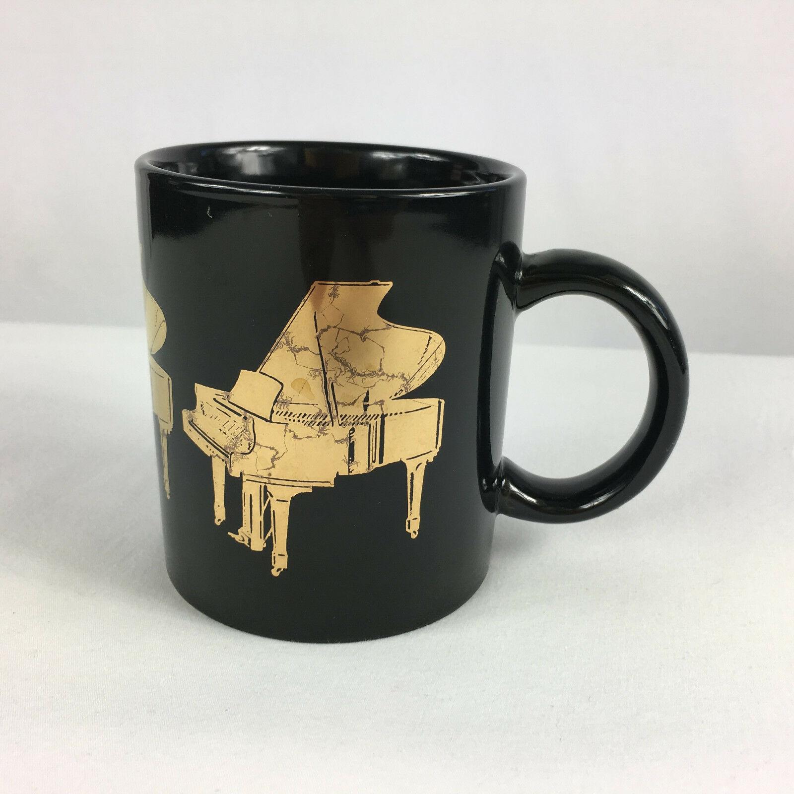 Piano Coffee Mug Albert Elovitz 1987 Gold Metallic - $14.84