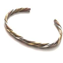 T18 Vintage Tri Color Metal Cuff Bracelet - $17.77