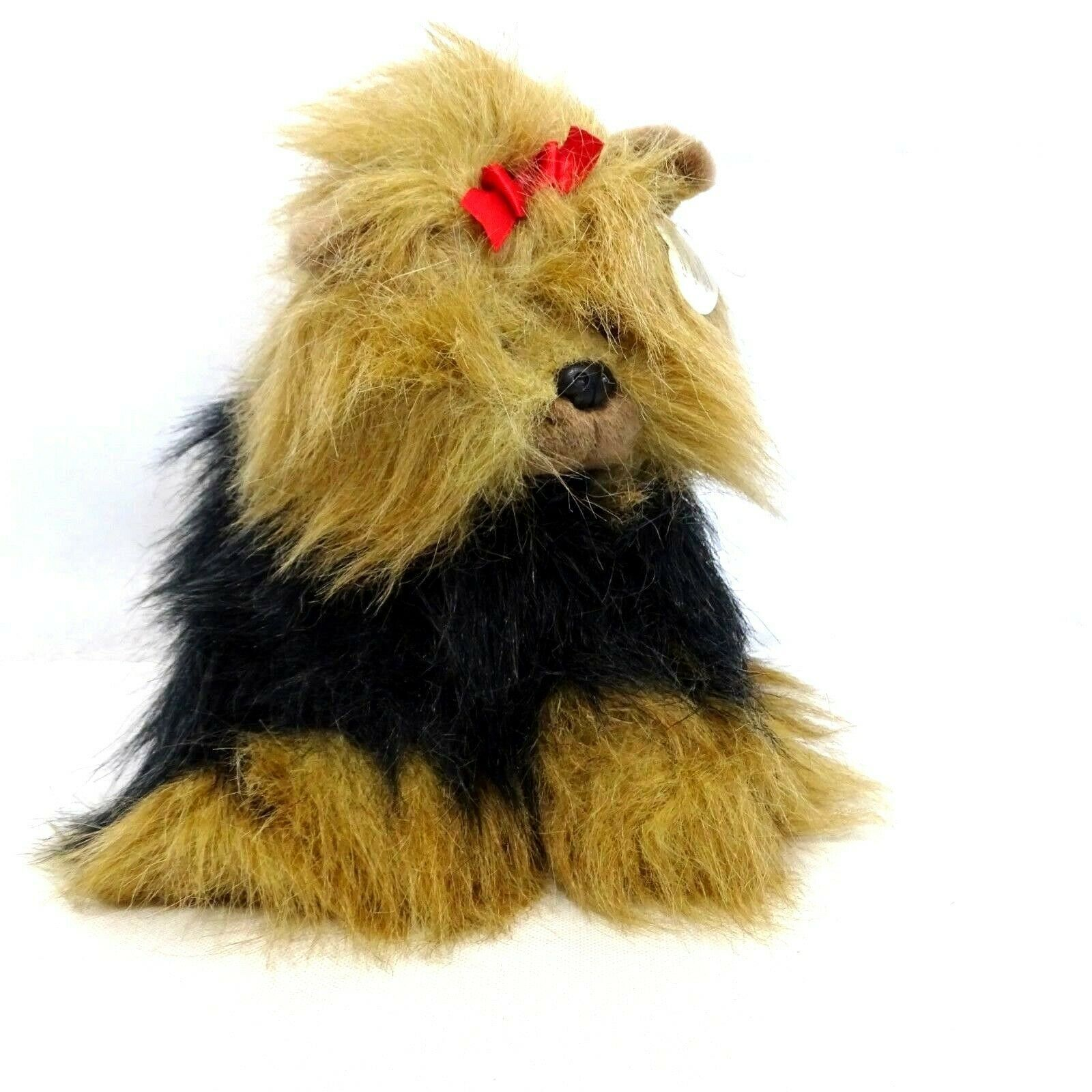 TY Yappy Yorkie Puppy Dog Red Bow Stuffed Animal Plush Toy with Hang Tag Age 3+