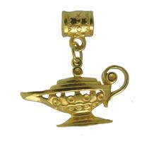 HOT 24K Gold Pltd Lucky charm Aladdin Magic Lamp European bead Jewelry Arabian N - $27.24