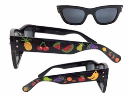 Women's Black Sunglasses with Hand Painted Pineapples, Cherries, Grapes,... - £15.08 GBP