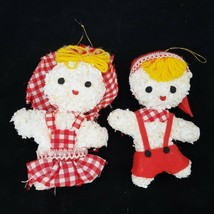 Vintage Christmas Ornament Pair Boy Girl Styrofoam Popcorn - $9.88