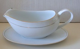 Vintage Crown Empire Fine China Gravy Dish and Saucer - Gold Trim - $8.72