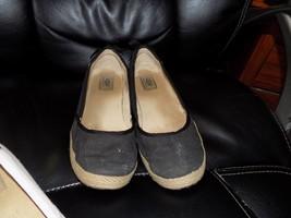 Ugg Australia Indah Black Canvas Flats Shoes Back Bow Detail Size 10 Women's Euc - $48.19
