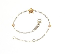 18K ROSE & WHITE GOLD BRACELET FOR KIDS WITH STAR AND ZIRCONIA MADE IN ITALY image 1