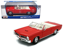 1965 Pontiac GTO Convertible Red 1/18 Diecast Model Car by Maisto - $52.78