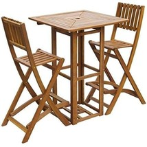 Outdoor Patio Bar Table and Chairs Set Acacia Wood Restaurant Cafe Pub F... - €249,07 EUR