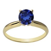 14k or Jaune Résistant 6mm Rond Saphir Bleu Bague Solitaire Toutes les T... - £111.06 GBP+