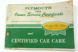 Vintage 1962 Original Plymouth Owner Service Certificate With Owner Info... - $9.99