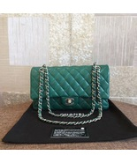 AUTH Chanel 2018 TURQUOISE GREEN LAMBSKIN MEDIUM DOUBLE FLAP BAG SHW - $3,999.99