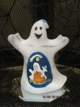 FENTON ART GLASS HALLOWEEN WHITE SATIN GHOST FIGURINE  OOAK!!!!!!! - $175.00