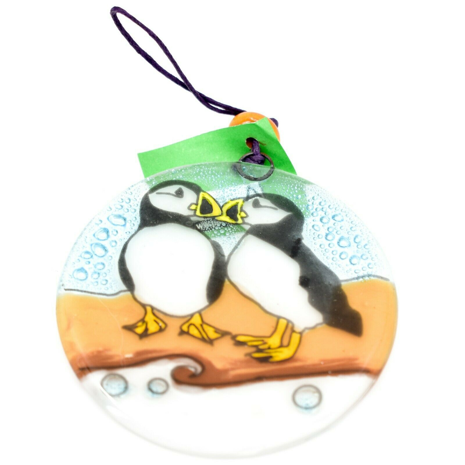 Fused Art Glass Puffin Bird Ornament Handmade in Ecuador