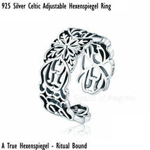 Ritual Bound Sterling Silver Celtic Adjustable Hexenspiegel Talisman Ring - $225.00