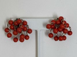 Vintage Orange in Color Clip On Earrings  - $11.65