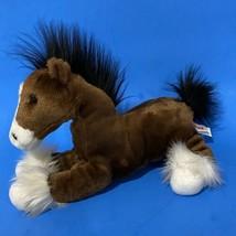 "Aurora Plush Horse Pony Brown White Stuffed Animal Equine Shaggy Hooves 11"" - $14.03"