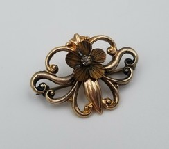 """Victorian Brass Brooch Pin with Faux Diamond & Flower C Clasp 1 1/8"""" x 7/8"""" - $43.56"""