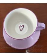 Starbucks Lavender Heart Large Cup Saucer 2006 Coffee Tea Mug Valentine ... - $25.73