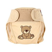Lovely Bear Baby Leak-Free Diaper Cover with Magic Tape (6-12 Months, Beige)
