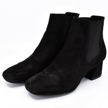 """Boohoo Faux Black Suede 2.3"""" Heel Ankle Boots Booties Size 10 image 2"""