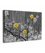 BLI Yellow Grey Rustic Modern Floral Wall Art Painted Canvas Prints for ... - $65.52
