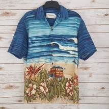 Kalaheo Hawaiian Aloha Shirt Navy Blue Surf & Sand Scene Size S Made in ... - $34.46
