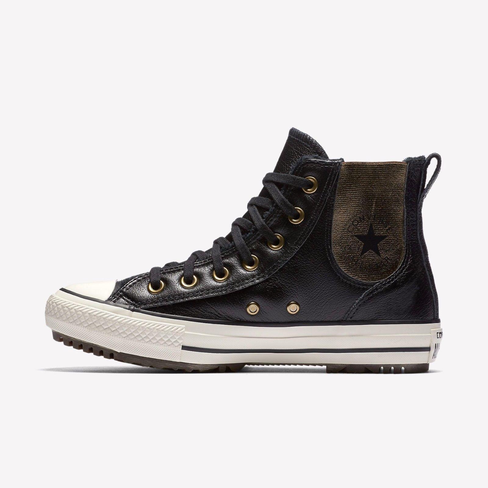 Women's Converse CTAStar LEATHER+FAUX FUR Chelsea Boot, 553392C Mult Sizes Black - $99.95