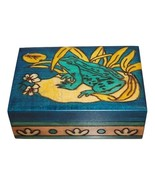 """Small Engraved Wooden Trinket Box """"Enchanted Lake Frog"""" by Enchanted Wor... - $9.99"""