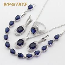 4pcs Women Silver Color Jewelry Sets Blue Crystal White Necklace Pendant Earring image 3