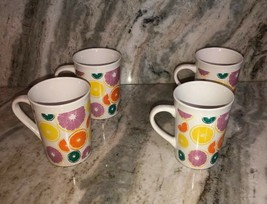 "Royal Norfolk 4 1/2"" Coffee Cups Mugs Set Of 4-Fruit Pattern(New)SHIP N 24 HRS - $39.48"