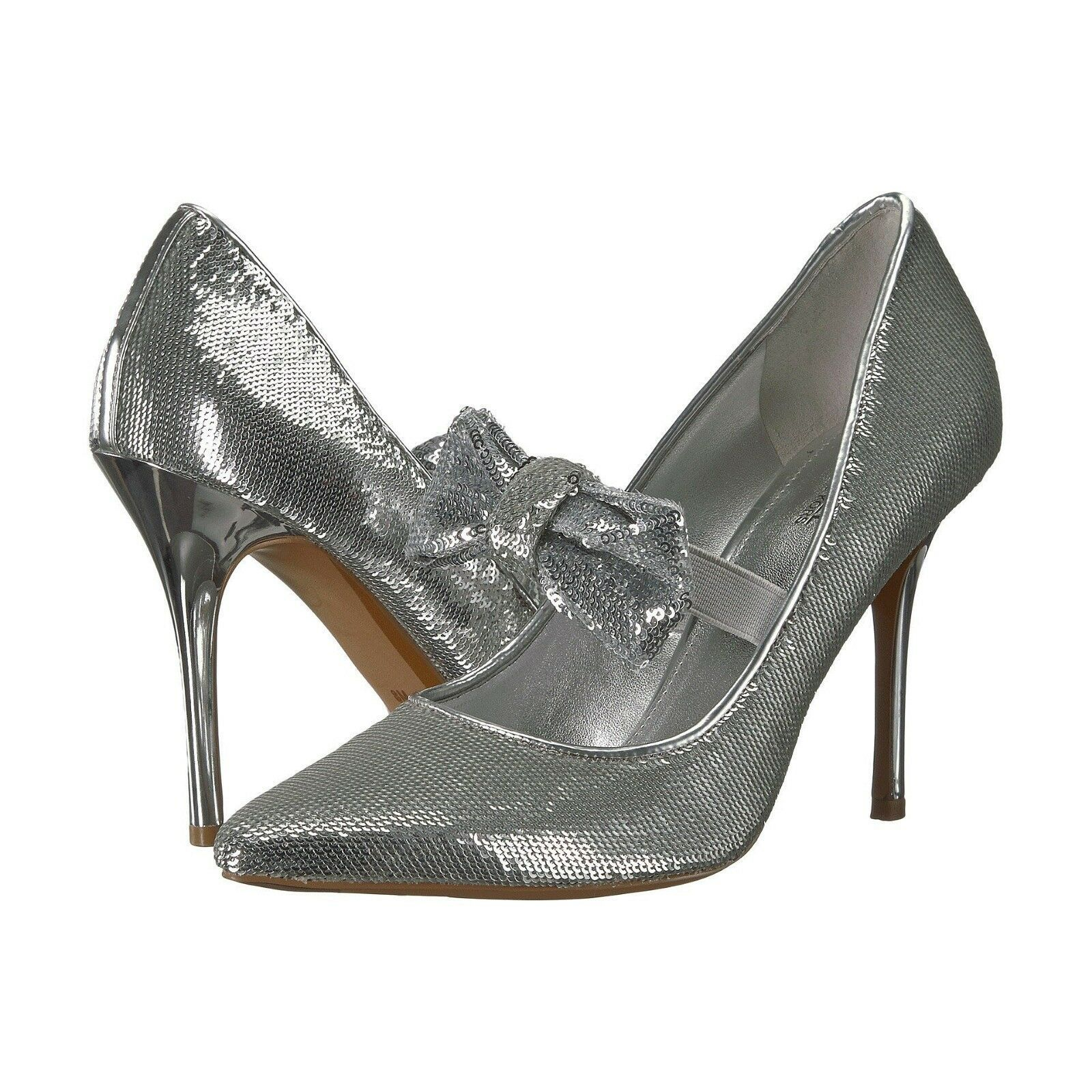 Primary image for Michael Kors Silver Sequin Mary Jane Bow Paris High Heel Pumps 9 NIB